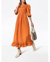 BATSHEVA Prairi ラッフル ロングドレス Orange