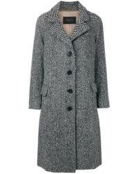Paltò - Black Patterned Single Breasted Coat - Lyst