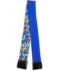 LaDoubleJ プリント スカーフ Blue