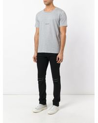 メンズ Saint Laurent ロゴプリント Tシャツ Gray