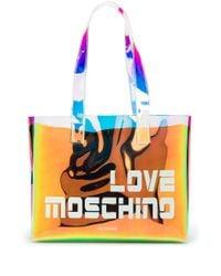 Сумка-тоут С Голографическим Эффектом И Логотипом Love Moschino, цвет: Black