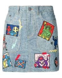 Jupe à détails de patchs Alice + Olivia en coloris Blue