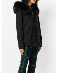 Mr & Mrs Italy Black Fur Hood Short Parka Coat