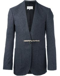 Maison Margiela Blue Virgin Wool-cotton Blend Blazer for men