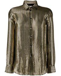 Camisa a rayas metalizadas Saint Laurent de color Black
