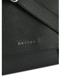 Orciani Black Leather Shoulder Bag for men