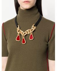 Marni - Red Chain Pendant Necklace - Lyst