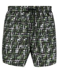 Fendi Green Camouflage Ff Print Swim Shorts for men