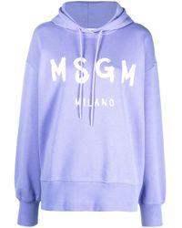 MSGM Purple Logo Print Drawstring Hoodie