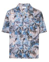 Rhude Hemd mit Wolf-Print in Blue für Herren