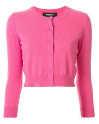 Paule Ka Pink Cropped Long-sleeve Cardigan