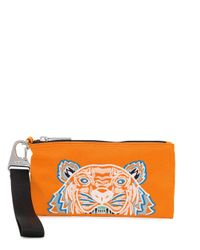 KENZO Orange Tiger Embroidered Zipped Wallet for men