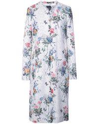 Monique Lhuillier White Floral Print Single-breasted Coat