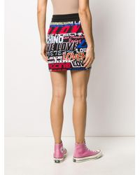 Falda con logo estampado Love Moschino de color Black