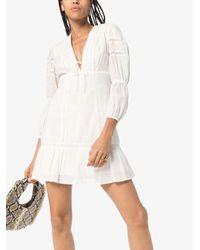 Reformation White Cecilie Lace Trim Dress