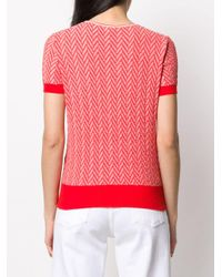 Roberto Collina Red Chevron Patterned Shortsleeved Knitted Top