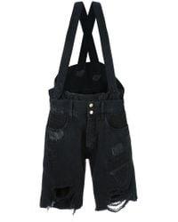 Faith Connexion   Black Suspenders Ripped Shorts   Lyst