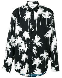 Camicia con stampa di MSGM in Black da Uomo