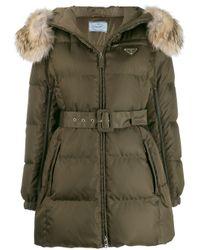 Abrigo con capucha y cinturón Prada de color Green