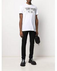 Camiseta con logo estampado metalizado Philipp Plein de hombre de color White