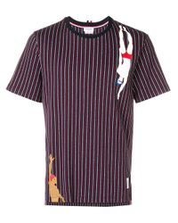 Thom Browne Blue Swimmer Print Pinstripe Jersey Tee for men