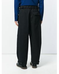 Lemaire Black Cropped Wide Trousers for men