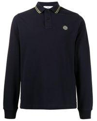 Рубашка Поло С Длинными Рукавами И Нашивкой-логотипом Stone Island для него, цвет: Blue