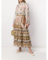 Falda con estampado de cachemira a capas escalonadas Zimmermann de color Multicolor