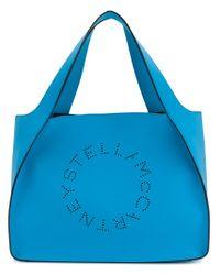 Stella McCartney Blue Perforated Logo Tote