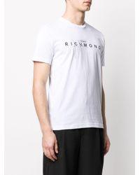 メンズ John Richmond メタリックロゴ Tシャツ White