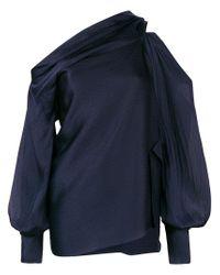 Roland Mouret Blue Asymmetric Neckline Blouse
