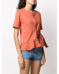 Sandro フロントタイ Tシャツ Orange