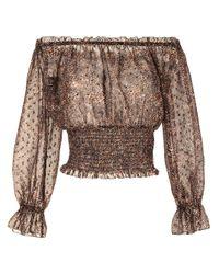 L'Agence Brown Schulterfreies Kleid mit Leoparden-Print