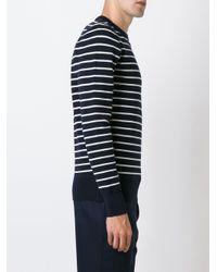 メンズ AMI ボーダー柄クルーネックセーター Blue