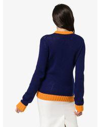 Prada Blue Pullover mit Kontrastsaum