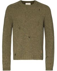 Gucci Green Felted Hole Distressed Jumper for men