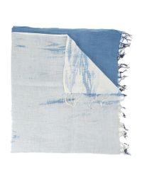 Suzusan Blue Frayed Scarf