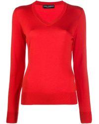 Трикотажный Джемпер С V-образным Вырезом Dolce & Gabbana, цвет: Red
