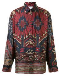 Pierre Louis Mascia Blue Floral Print Shirt for men