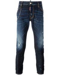 DSquared² Blue Classic Kenny Twist Chain Trim Jeans for men