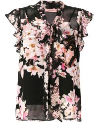Twin Set Black Floral Print Pussybow Blouse