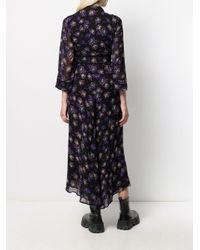Robe portefeuille à fleurs Ganni en coloris Black