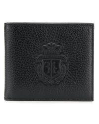 メンズ Billionaire エンボスロゴ 二つ折り財布 Black