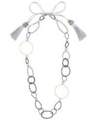 Night Market - Metallic Bead And Ring Long Necklace - Lyst