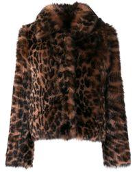 Yves Salomon Multicolor Leopard Print Fur Jacket