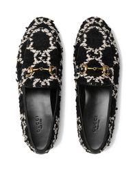Gucci Jordaan Tweed Loafers in het Black