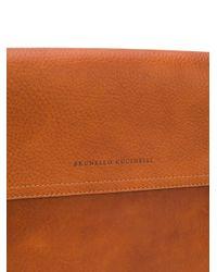 メンズ Brunello Cucinelli バックル ビジネスバッグ Brown