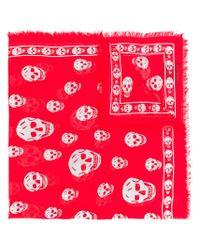 Alexander McQueen - Red Skull Scarf - Lyst