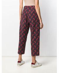 Pantaloni crop con stampa paisley di YMC in Red