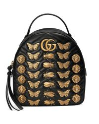 0c6527e5f9a5 Lyst - Gucci Gg Marmont Animal Studs Leather Backpack in Black